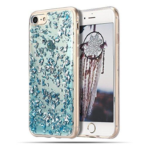 Cover iPhone 8, Custodia iPhone 7, CaseLover Custodia per iPhone 8 / 7 Morbido TPU Silicone Trasparente Bling Bling Glitter Protettiva Case Ultra Sottile Flessibile Lusso Cristallo Scintilla Scintilli Blu