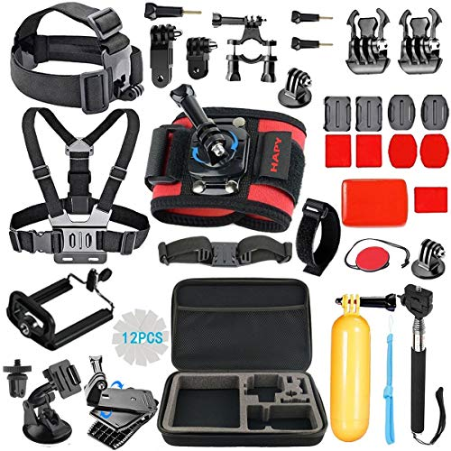 HAPY Sports Camera Accessories Kit for GoPro Hero7 8 Black GoPro Max Hero 6 5 4 3 Fusion Session, DBPOWER, Campark, AKASO, APEMAN, SJCAM, xiaomi YI Action Camera with Carrying Case