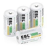 EBL D Batterie Ricaricabili ad Alta Capacità da 10000mAh 1.2V Ni-MH,1200 Cicli con Auto-Scarica Bassa,Confezione da 4 pezzi