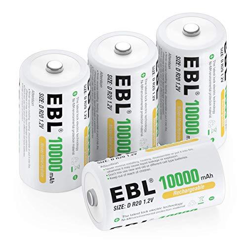 EBL D Batterie Ricaricabili ad Alta Capacità da 10000mAh 1.2V Ni-MH,1200 Cicli con Auto-Scarica Bassa,Confezione da 4 pezz