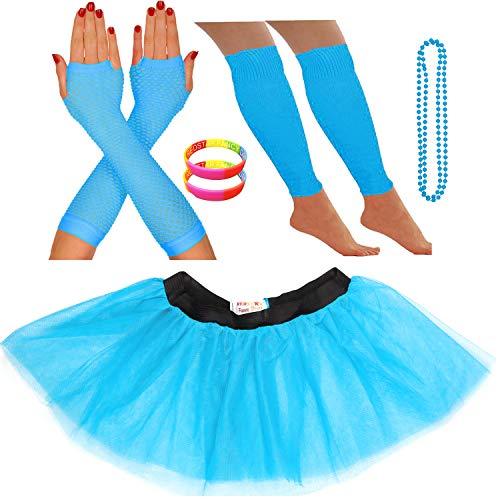 Redstar Fancy Dress® - Tutu-Röckchen, Beinstulpen, Netzhandschuhe, Perlenkette und breite Gummiarmbänder - Neonfarben - Türkis - ()