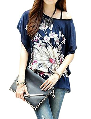Woman Flower Prints Scoop Neck Loose Fit Tunic Top w Waist String