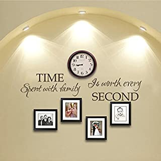 Time Spent With Family Is Worth Every Second Vinyl Family Wall Decal Time Wall Quote Family Love Wall Saying Letters -WITHOUT Clock and Picture frames- Black