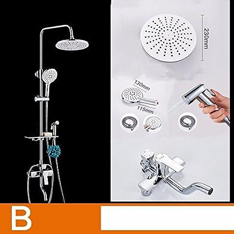 JSLCR Legen Sie Dusche Kit Messing Mixer Dusche Badezimmer Regen Dusche Duschkopf,4-Block-Runde