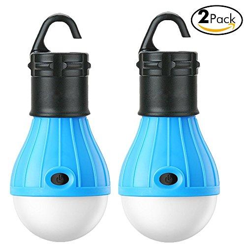 Birne Led Outdoor Laterne (IBuyi Camping Lampe Batterie angetriebene LED Zelt Laterne Glühbirne Outdoor Ausrüstung für Camping Wandern Angeln und Indoor Notlicht Lampe für Zahnrad Gadgets (Blue, 2 Pack))