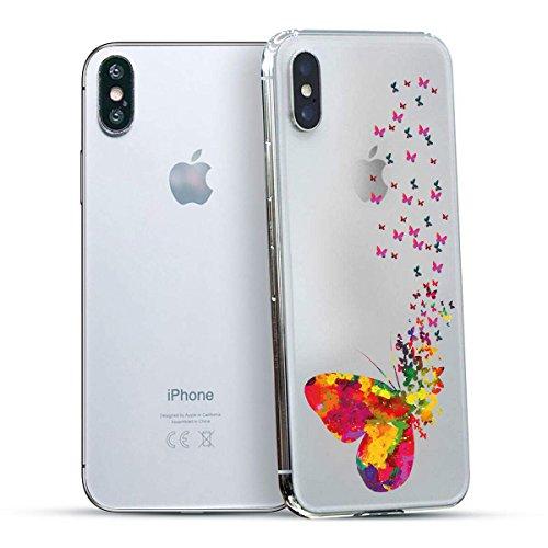 finoo | Iphone X Hard Case Handy-Hülle mit Motiv | dünne stoßfeste Schutz-Cover Tasche in Premium Qualität | Premium Case für Dein Smartphone| Love Laugh Live Viele Schmetterlinge