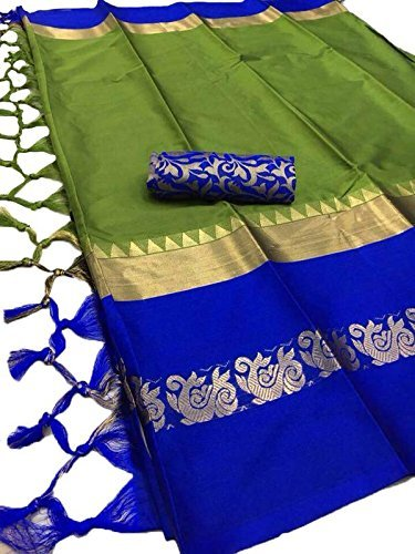 Expert E-commerce Services Cotton Silk Saree (EES-AU-5_Green & Blue_Free Size)