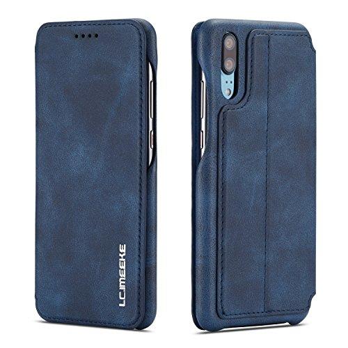 QLTYPRI Huawei P30 Hülle, Premium PU Leder Handyhülle Ultra Dünne Ledertasche Magnetverschluss Standfunktion und Kartensfach Wallet Case Flip Schutzhülle für Huawei P30 - Blau