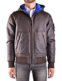 Stone Island Men's MCBI284046O Brown Leather Outerwear Jacket