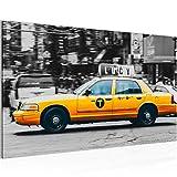 Bild 70 x 40 cm - Taxi New York Bilder- Vlies Leinwand - Deko für Wohnzimmer -Wandbild - XXL Teile - leichtes Aufhängen- 804814a