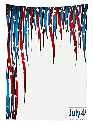 r-Tischdecke, Unabhängigkeitstag Motto Sterne Wirbelstreifen, Dekoration, waschbar, Picknick-Tischdecke, Rot, Weiß, Marineblau, 132 x 178 cm, 60