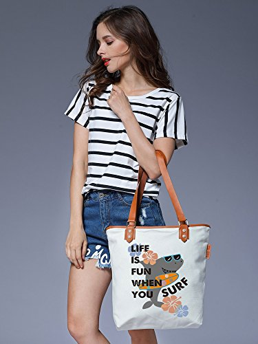 S.CHU Women's Shark Vacation Canvas Leather Tote Handbag Ladies Shoulder Bag Weiß