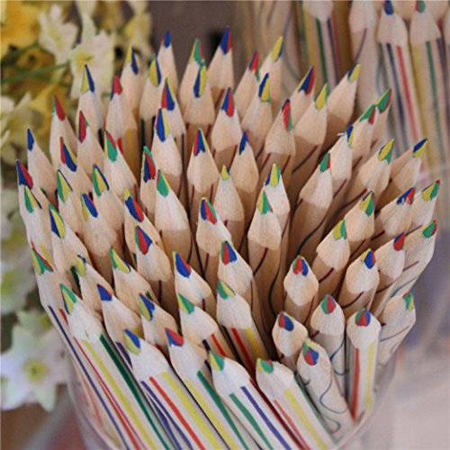 squarex 8pcs oder in der 10Stück Regenbogen Farbe Bleistift 4in 1Buntstiften, für Zeichnung Briefpapier AS SHOW mehrfarbig