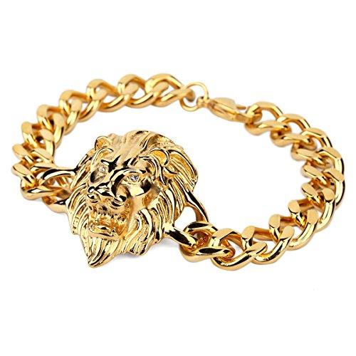 Nyuk da uomo in acciaio INOX hip hop testa di leone oro argento braccialetto, Lega, colore: Gold, cod. LC0046