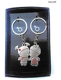 Couple Key Chain Metal Love Key Ring | Double Key Chain | Girl & Boy Key Ring ( Pack Of 2 )
