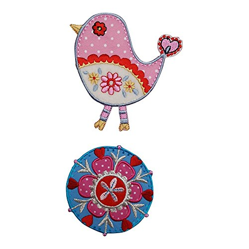 Im Usa-t-shirt Gemacht (Vogel Rosa 9X9Cm Blumen Rund 7X7Cm Aufbügler Aufnäher Bügelbild Bügelmotiv Stoff Kleid Patch Applikation Aufbügeln Personalisieren Kind)
