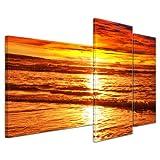 Kunstdruck - Sonnenuntergang - Bild auf Leinwand - 130x80 cm 3 teilig - Leinwandbilder - Bilder als Leinwanddruck - Wandbild von Bilderdepot24 - Urlaub, Sonne & Meer - Landschaft - prächtiger Sonnenuntergang über dem Meer