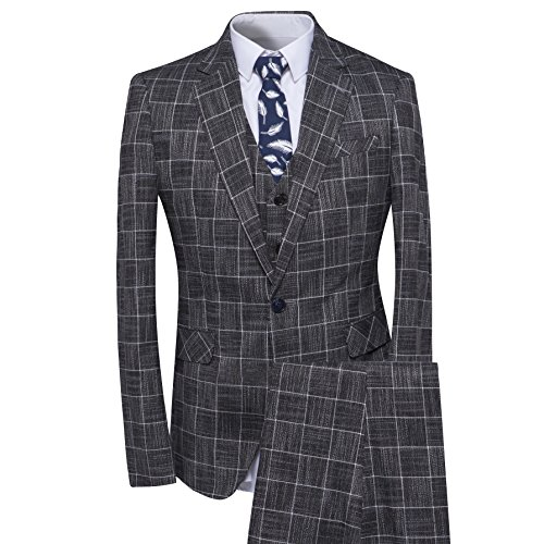 YFFUSHI Herren Plaid Tweed 3 Stück Anzug Slim Fit One Button Abendessen Klage-Smoking X-Large Grau -