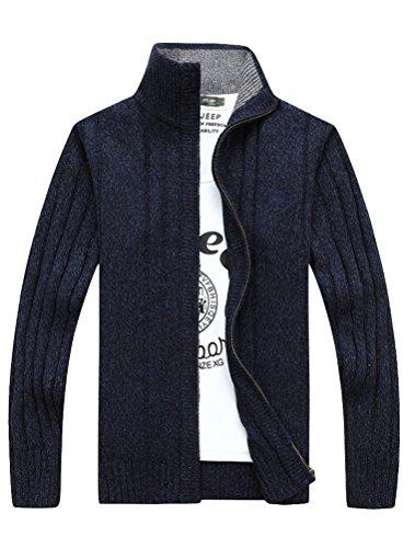 MatchLife Herren Stehkragen Pullover Reißverschluss Mantel Style2-Blau