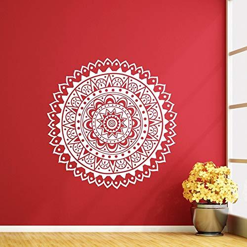 Hllhpc mandala decalcomania da muro fiore di loto adesivo in vinile soggiorno namaste decorazione domestica moderna indiana adesivi murali carta da parati 57 * 57cm