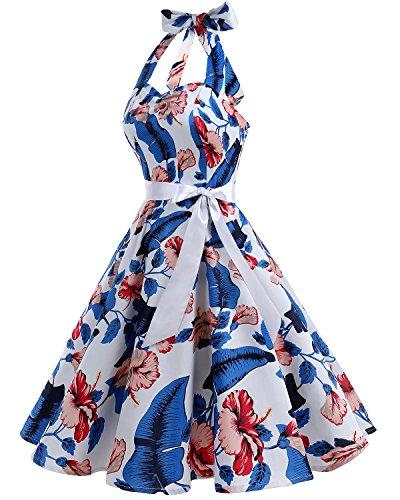 Bbonlinedress 1950er Neckholder Vintage Retro Rockabilly Cocktail Party Kleider RoyalBlue Flower