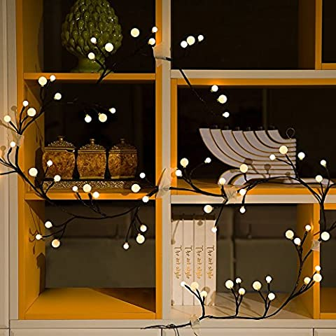 LED Fairy String Decorative Rattan Lights - Ollny 2.5m 72 Leds Waterproof 8 Modes Memory Function Lights Outdoor Garden Patio Christmas Party Wedding Decoration (Warm White
