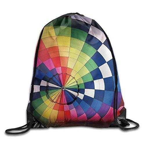 HiExotic Eco-Friendly Turnbeutel Hipster Unisex Rainbow Hot Air Balloon Print Tote Sack Bag Rucksack Drawstring Backpack Travel Bag Daypack