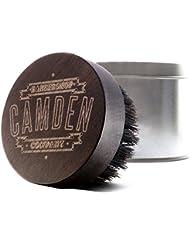 Camden Barbershop Company: Brosse à barbe en bois de noyer & poils de sanglier, boîte incluse, polie à la main & gravée au laser – pour le soin de la barbe et l'application d'huile pour barbe