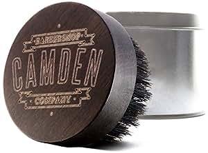 CAMDEN BARBERSHOP COMPANY: Bartbürste aus Walnussholz & Wildschwein-Borste inkl. Case, handgebeizt & laser-graviert – zur Bartpflege & zum Auftragen von Bartöl