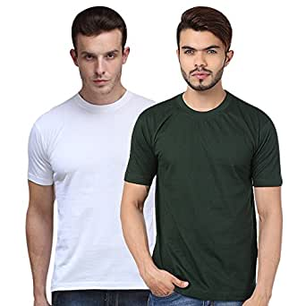 Goindia Store Solid White & Dark Green Round Neck T-shirts Combo (Pack of 2)