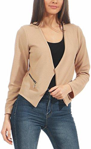 Malito Damen Blazer ohne Kragen | Sakko im Basic Look | Kurzjacke mit Zipper | Jacke - Jackett - Blouson 6040 (beige, S)