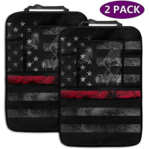 Car Backseat Organizer Firefighter Thin Red Line 4 Storage Pockets for Toys Book Bottle Drinks Kids Travel Accessories 2 Pack -