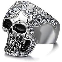 UM Joyería gótico Punk Hombres Cristal Acero inoxidable Cráneo Biker ...