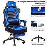KILLABEE großer Memory Foam Gaming Stuhl - Verstellbarer Neigungswinkel, Rückenwinkel und 3D-Arme Ergonomische hohe Rückenlehne aus Leder Exklusiver Computer-Schreibtisch. Bürostuhl mit Metallsockel