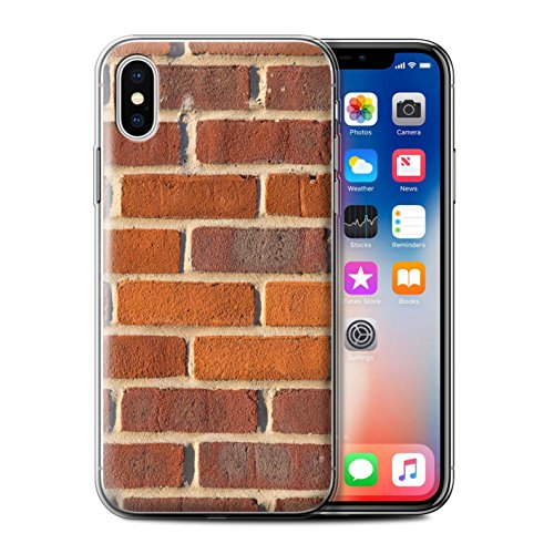 Stuff4 Gel TPU Hülle / Case für Apple iPhone X/10 / Pack 11pcs / Mauerwerk Kollektion Rot