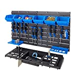 BiGDUG Garage Shed Workshop Wall Tool Storage Rack Kit Inc 6 Bins; 12 Hooks & Tool Tray (Blue Tool Rack Kit)