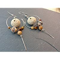 Boucles d'oreilles ethniques crème, marron, pierres naturelles et acier inoxydable