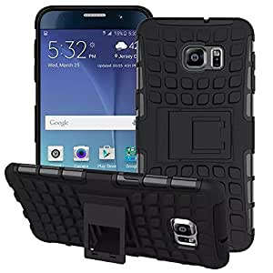 Heartly Flip Kick Stand Spider Hard Dual Rugged Armor Hybrid Bumper Back Case Cover For Samsung Galaxy Note 5 Edge - Rugged Black