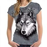YANAIX Tee Shirt Femme Loup 3D Shirt Drôle Tee Shirt Manches Courtes Été Femme...