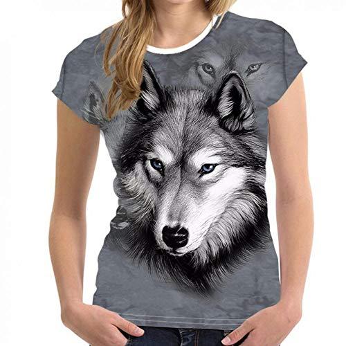 t Wolf 3D Lustiges Hemd Sommer Kurzarm-T-Shirt Top Weibliches T-Shirt Damen Kleidung Animal-Print ()