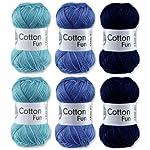 Gründl Cotton Fun Häkelgarn Schulgarn 100% Baumwolle SET 6 Blau Mix 6 Stück 300 Gramm