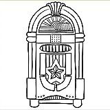 Lkfqjd Retro Jukebox Musikspieler Vinyl Wandkunst Aufkleber Aufkleber Wurlitzer Kinderzimmer Wandaufkleber Dekorative Kunst 57 * 101Cm