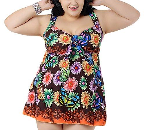 Aivtalk Traje de Baño de 2 Piezas Push Up Bañador Vestido con Bragas Mallas para Mujer Beachwear Swimsuit Swimwear 95kg - 105kg Talla Grande - Naranja