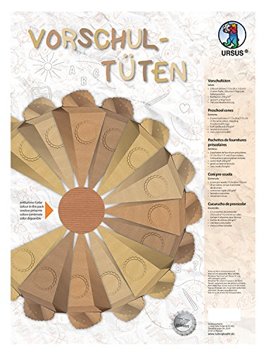 Ursus 9720004Preescolar Bolsa de cartón Kraft para diseñar Incluso, 2Unidades, Aprox. 11,5x 25x 11,5cm, Sahara
