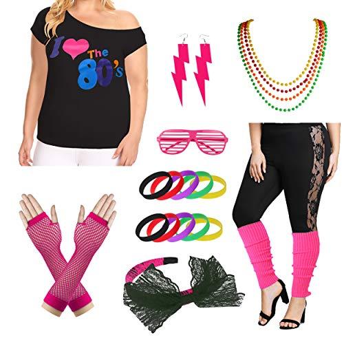 Plus Size Ich Liebe die 80er Jahre T-Shirt der 1980er Jahre Pop Party Damenkostüm-Set (3X/4X, Hot Pink)