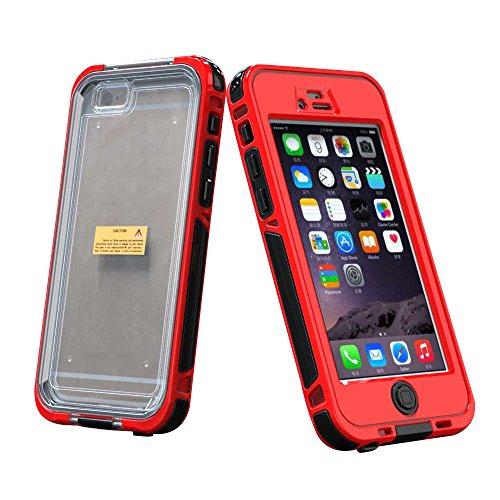 Waterproof Case Cover per Apple iPhone 6 Plus / 6S Plus 5.5 - Yihya Custodia Protettiva Impermeabile Acqua Resistenti Antiurto Anti-drop Sigillatura Completa Protettive Shell Bumper - Nero (Black) Rosso