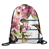 gthytjhv Art Painting Bird Hummingbird with Flower Unisex Outdoor Rucksack Shoulder Bag Travel Drawstring Backpack Bag Lightweight Unique 16.9x14.2