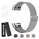 super vaule Für Fitbit Charge 2 Armband, Milanese Fitbit Charge2 Armbänder Band (Schwarz+Colorful, S) (Silber, S)