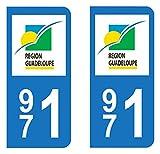 Paire de sticker de la Guadeloupe, département 971, ces stickers sont au normes légales pour les automobiles.Résistance aux UV/lavage/intempéries = 7 ans