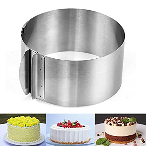 Yoofor Adjustable Round Cake Ring, Variable Scaling 6-inch to 12-inch/16 cm to 30 cm, with 3.3 inch/8.5 cm Scale
